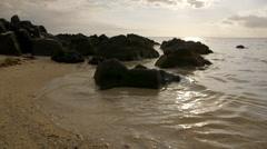Beach with volcanic rocks Stock Footage