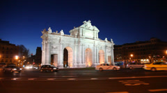 View of Arch Puerta de Alcala in independence of Spain square Stock Footage