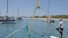 Catamarans on Mauritius Stock Footage
