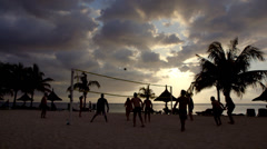 Beach Volleyball in the Evening Stock Footage