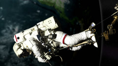 Nasa astronaut spacewalk working on International space station nasa earth orbit Stock Footage