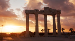 Ancient Ruins of Roman Empire Sunset Stock Footage