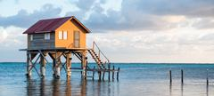Home on the ocean in ambergris caye belize Stock Photos