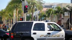 Beverly Hills Police Department on Rodeo Drive Stock Footage