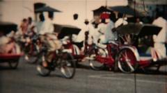 Bangkok Thailand Circa 1960 vintage film rickshaw street HD Stock Footage