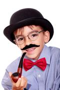boy and mustache - stock photo