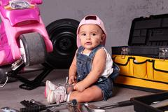 young mechanic - stock photo