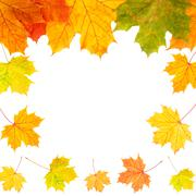 Stock Photo of autumn border card of colored leaves