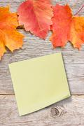 Stock Photo of sticky note on the board with autumnal leaves