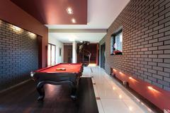 snooker table in luxury interior - stock photo