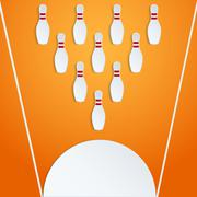 sport with paper bowling pins and ball - stock illustration