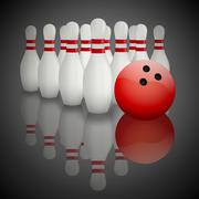 Bowling pins and ball with reflection - stock illustration