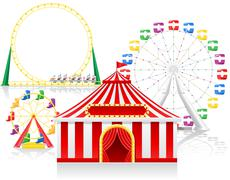 circus tent and attractions illustration - stock illustration