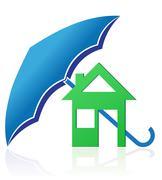 house with umbrella concept illustration - stock illustration