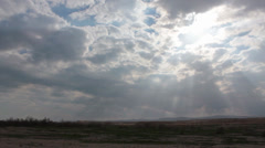 Sun rays in the Biblical Site of Jordan Valley, Holy Land, Israel Stock Footage