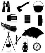 Set icons items for outdoor recreation black silhouette illustration Stock Illustration