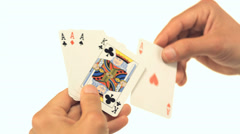 Man holding playing cards - stock footage