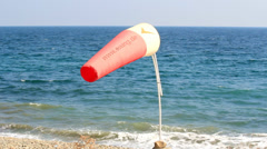 WIND SOCK AT SHORE Stock Footage