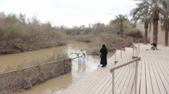 Jordan River Baptism Site in the border of Jordan and Israel Stock Footage