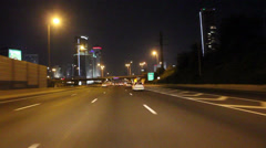 Tel Aviv at Night Time Lapse in Ayalon Highway Stock Footage
