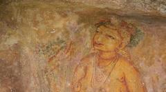 Frescoes of Sigiriya. Sri Lanka. Stock Footage