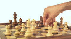 Man moving pawn on chess board Stock Footage