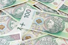 Seamlessly tileable and repeatable 100's pln (polish zloty) currency Stock Photos