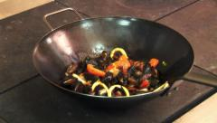 Cooking mussels restaurant kitchen Stock Footage
