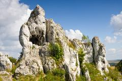 jurassic limestone rocks - polish jura, poland - stock photo