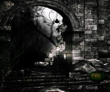 black spooky background - stock illustration