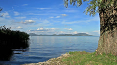 Beautiful landscape over the lake Balaton of Hungary Stock Footage