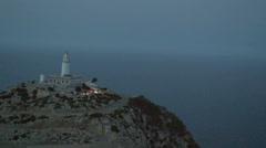 Light house at night Cap Formentor Mallorca - stock footage