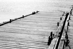 pier in the bay in Balaclava - stock photo