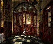Scary asylum interior background Stock Photos