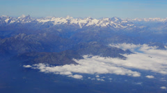 Mont Blanc range clouds in valley aerial Stock Footage