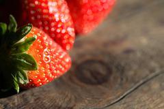 strawberry on wood - stock photo