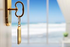 Room with ocean view - the start of a great vacation (shallow dof) Stock Illustration