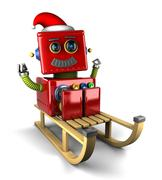 Santa Claus robot on sled - stock illustration