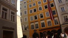 Amadeus Mozart's Birthplace in Salzburg Stock Footage