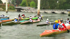 Canoe in river Stock Footage