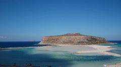 View of the lagoon Ballos(Balos) and the island Gramvousa Stock Footage