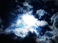 Rainy day blue clouds Stock Photos