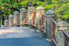 stone bridge railing - stock photo