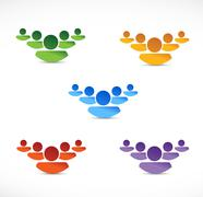 set of different color people teams. illustration - stock illustration