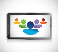teamwork and technology tablet illustration design - stock illustration