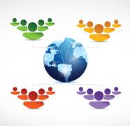 Different teams of people working together Stock Illustration