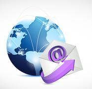 global network communication. contact us email - stock illustration
