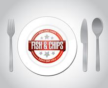 fish and chips restaurant concept illustration - stock illustration