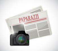 Paparazzi newspaper and camera concept Stock Illustration
