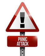 panic attack road sign illustration design - stock illustration